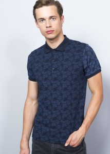 ADZE - Dark Blue Men's Prınted Polo Shırt