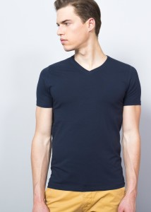 Dark Blue Men's V-shaped T-Shirt