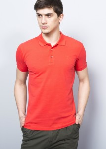 Light Coral Men's Crested Basic Polo Shirt