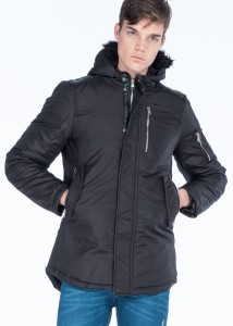 LENASSO - Black Men's Faux Fur Hooded Gabardine Parka with Sleeve Pocket