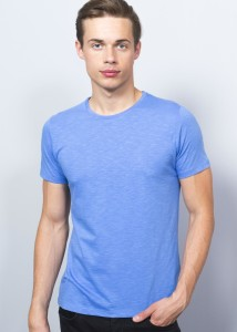 ADZE - Blue Men's Round Collar Basic T-Shirt
