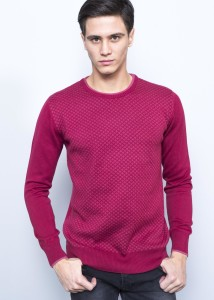 Burgundy Men's Patterned Round Collar Sweater