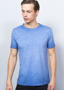 ADZE - Indigo Men's Round Collar Basic T-Shirt