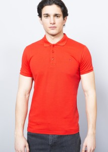 Red Men's Pique Polo Shirt