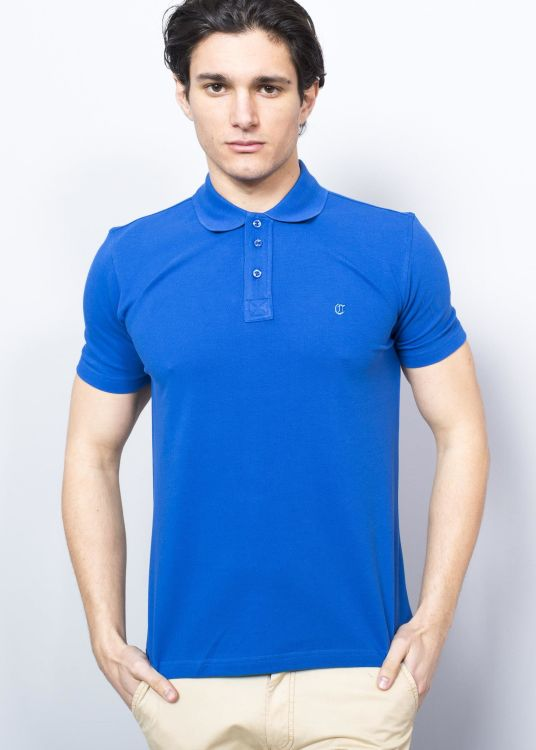 Sax Blue Men's Pique Polo Shirt