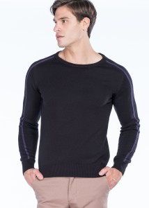 ADZE - Black-Purple Men's Round Neck Basic Sweater
