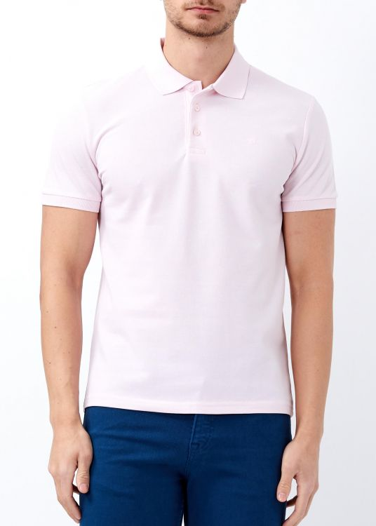 Erkek Pudra Slim Fit Basic Polo Yaka Tişört