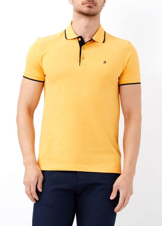 Erkek Hardal Slim Fit Basic Polo Yaka Tişört