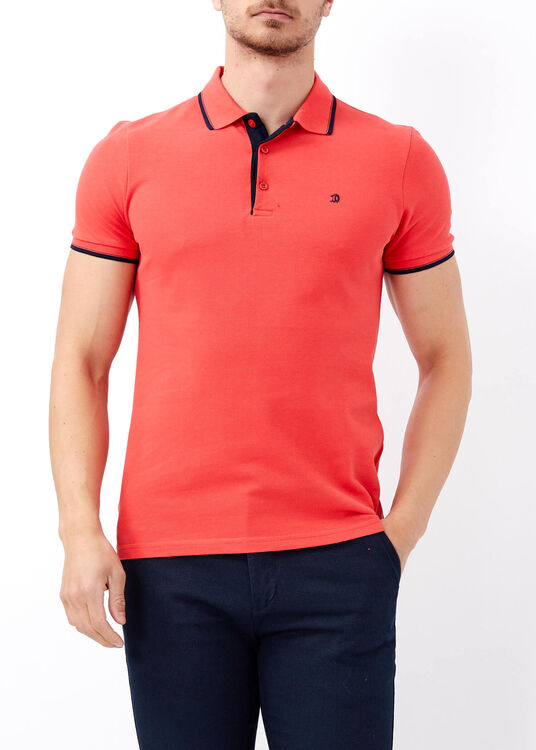 Erkek Mercan Slim Fit Basic Polo Yaka Tişört