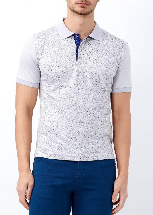Erkek Açık Gri Çiçek Desenli Slim Fit Polo Yaka Tişört