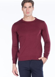 ADZE - Burgundy Men's Round Neck Basic Sweater