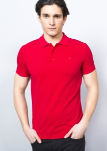 Bordo Erkek Basic Slim Fit Polo Yaka Tişört