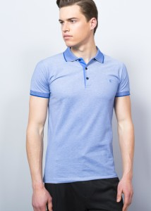 Sax Blue Men's Crested Basıc Polo Shirt