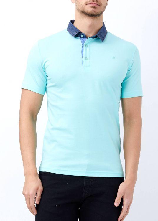 Aqua Yeşil Erkek Slim Fit Basic Düz Polo Yaka Tişört