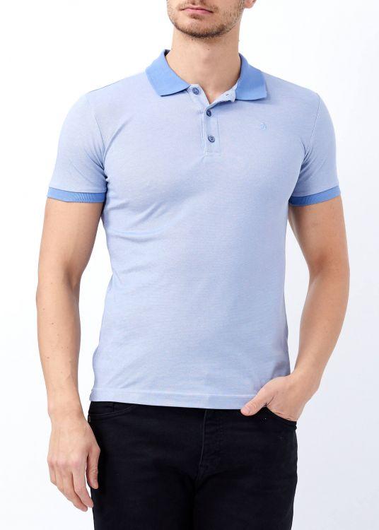 Açık Mavi Erkek Klasik Giyim Basic Polo Yaka Tişört