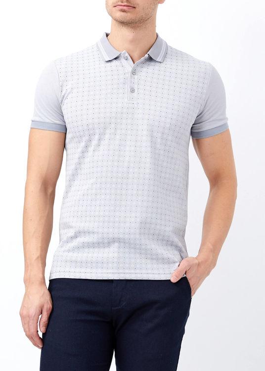 Gri Erkek Slim Fit Çiçek Baskılı Polo Yaka Tişört