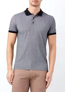 ADZE - Siyah Erkek Slim Fit Çiçek Baskılı Polo Yaka Tişört