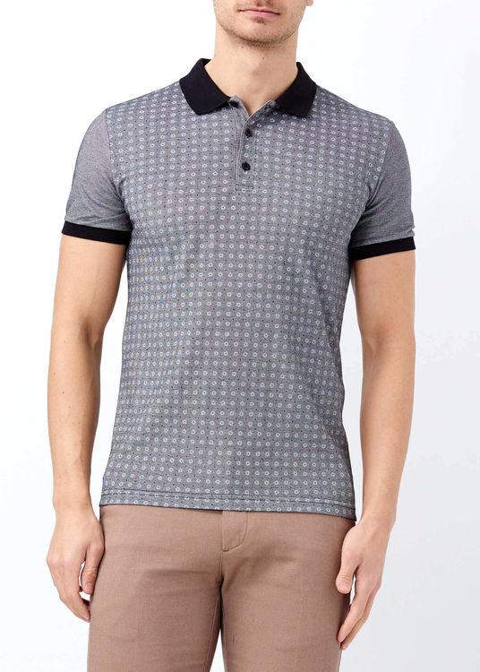 Siyah Erkek Slim Fit Çiçek Baskılı Polo Yaka Tişört