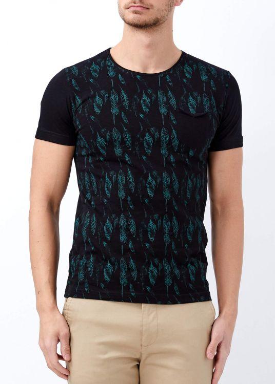 Erkek Siyah Yaprak Baskılı Geniş Yaka Tişört