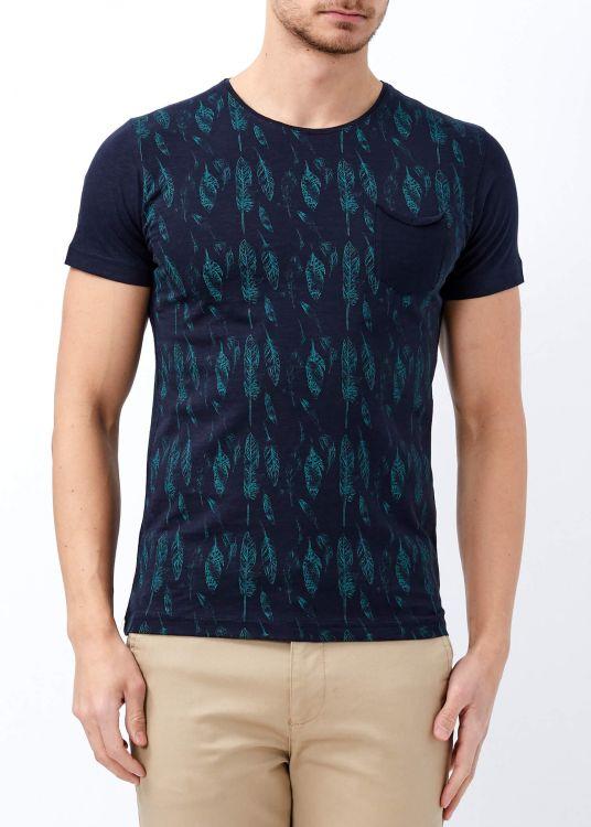 Erkek Lacivert Yaprak Baskılı Geniş Yaka Tişört