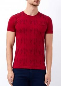 ADZE - Erkek Bordo Yaprak Baskılı Geniş Yaka Tişört