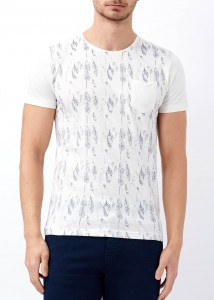 ADZE - Erkek Ekru Yaprak Baskılı Geniş Yaka Tişört
