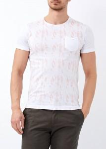 ADZE - Erkek Beyaz Yaprak Baskılı Geniş Yaka Tişört