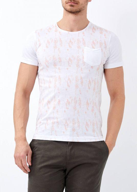 Erkek Beyaz Yaprak Baskılı Geniş Yaka Tişört