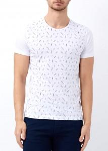 ADZE - Erkek Beyaz Bisiklet Yaka Slim Fit Tişört