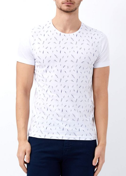 Erkek Beyaz Bisiklet Yaka Slim Fit Tişört