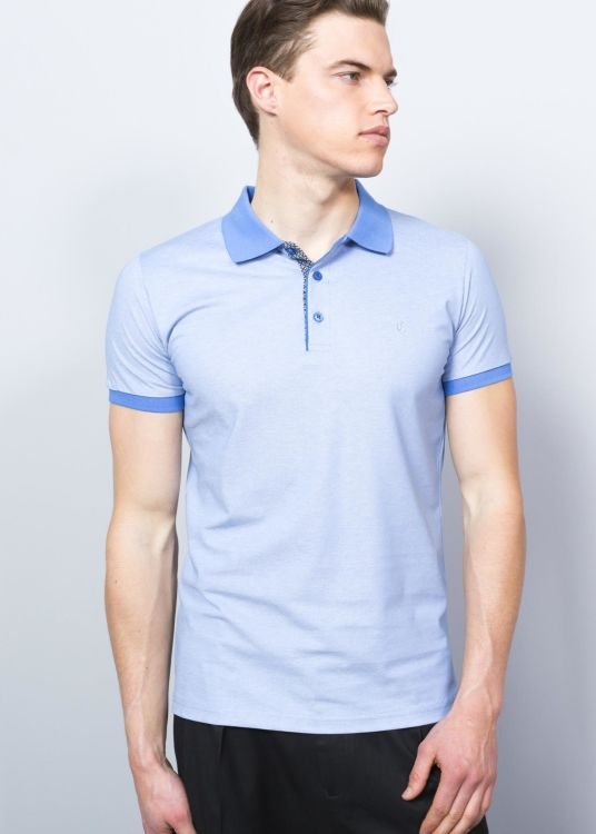 BLUE MEN'S CRESTED POLO SHIRT
