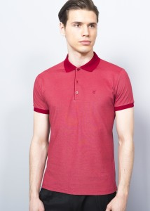 Burgundy-Coral Men's Basic Pique Polo Shirt