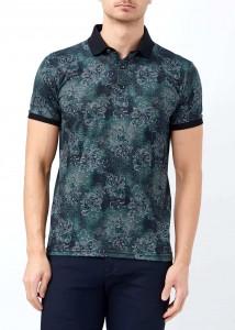 ADZE - Erkek Haki Çiçek Baskılı Polo Yaka Tişört