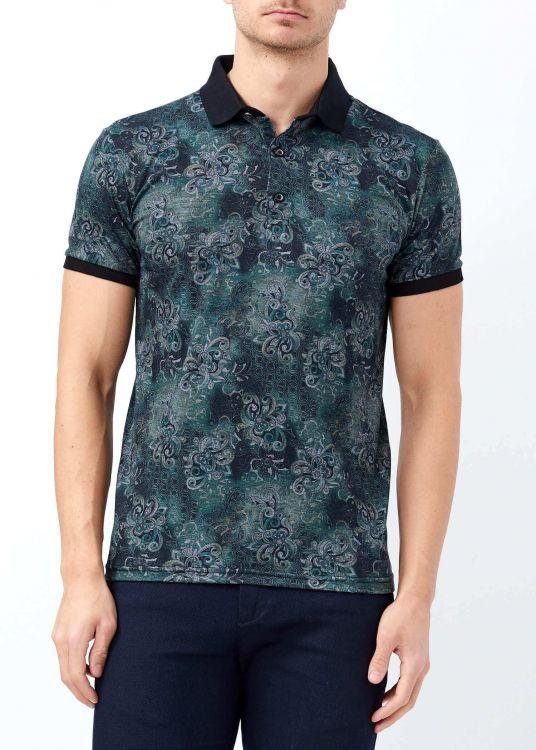Erkek Haki Çiçek Baskılı Polo Yaka Tişört