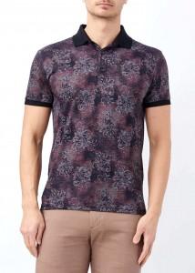 ADZE - Erkek Bordo Çiçek Baskılı Polo Yaka Tişört