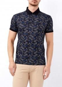ADZE - Erkek Siyah Baskılı Polo Yaka Tişört