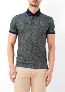 ADZE - Erkek Yeşil Dijital Baskılı Slim Fit Polo Yaka Tişört