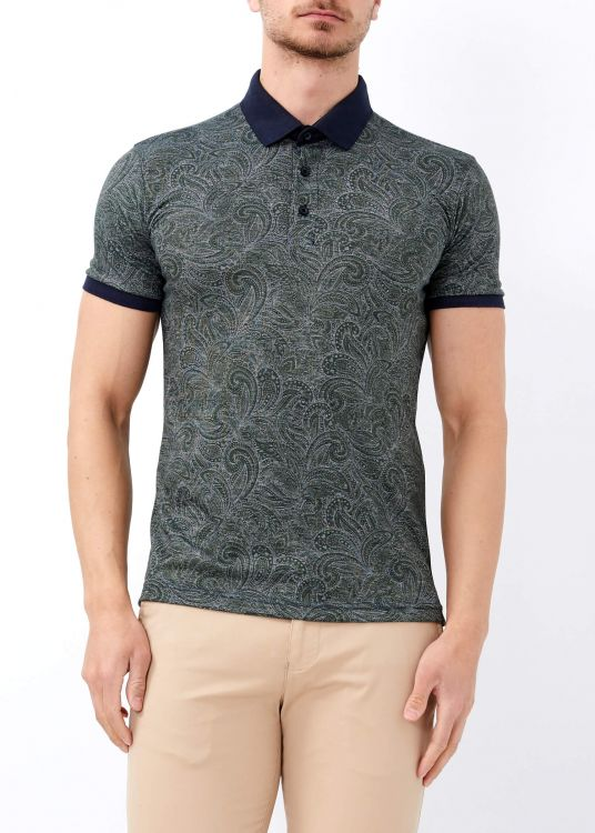 Erkek Yeşil Dijital Baskılı Slim Fit Polo Yaka Tişört