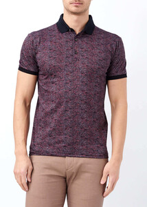 ADZE - Erkek Bordo Slim Fit Baskılı Polo Yaka Tişört