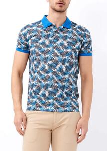 ADZE - Erkek Saks Baskılı Polo Yaka Tişört