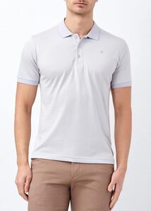 ADZE - Erkek Açık Gri Yaka ve Kol Detaylı Polo Yaka Tişört