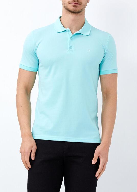 Erkek Aqua Yeşil Düz Slim Fit Spor Polo Yaka Tişört