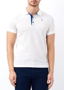 ADZE - Erkek Beyaz Jakarlı Polo Yaka Tişört