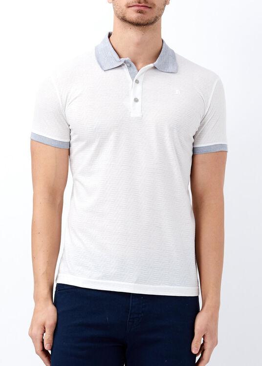 Erkek Beyaz Slim Fit Jakarlı Polo Yaka Tişört