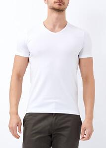 ADZE - Erkek Beyaz Slim Fit Likralı Basic Tişört