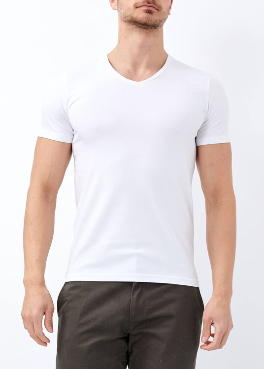 Erkek Beyaz Slim Fit Likralı Basic Tişört