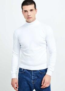 ADZE - Erkek Beyaz Tam Balıkçı Yaka Basic Sweatshirt