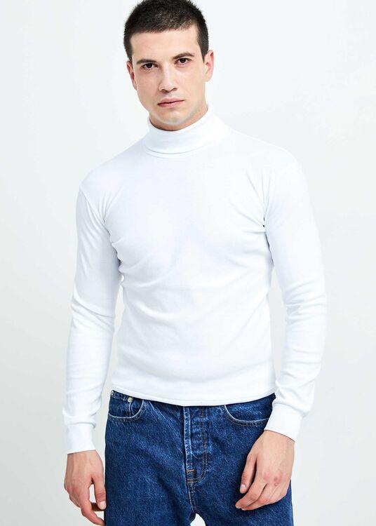 Erkek Beyaz Tam Balıkçı Yaka Basic Sweatshirt