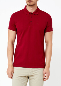 Erkek Bordo Basic Polo Yaka T-shirt