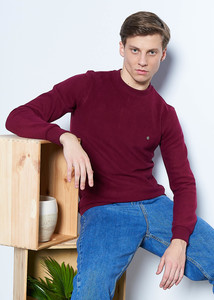 Erkek Bordo Basic Selanik Sweatshirt